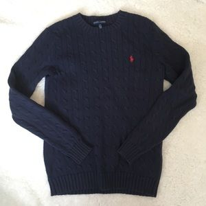 Ralph Lauren Cable Knit Sweater Navy Red Logo